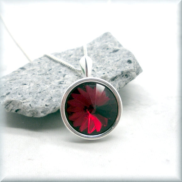Garnet Swarovski Crystal Rivoli Necklace - January Birthstone - Bonny Jewelry