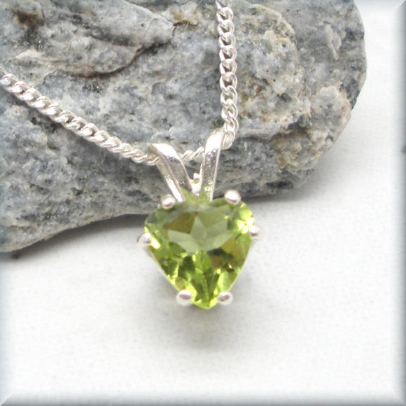 Peridot Heart Necklace - August Birthstone - Gemstone Jewelry - Bonny Jewelry
