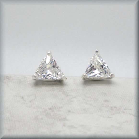 Trillion Cubic Zirconia Earrings - April Birthstone
