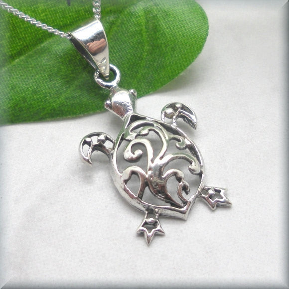 Sea Turtle Filigree Necklace - Beach Jewelry