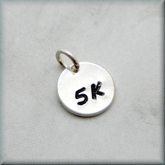 Tiny 5K Charm - Distance Running Charm - Handstamped - Bonny Jewelry