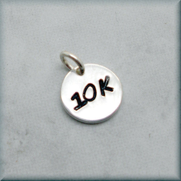 Tiny 10K Charm - Distance Running Charm - Handstamped - Bonny Jewelry