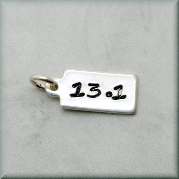 Tiny 13.1 Charm - Distance Running Charm - Handstamped