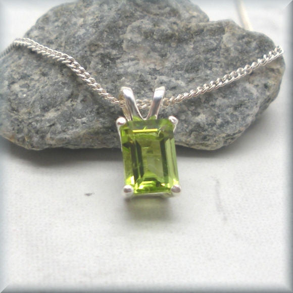 Emerald Cut Peridot Necklace - Sterling Silver