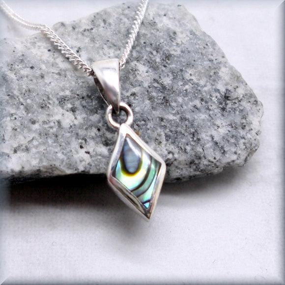 Tiny Abalone Shell Necklace - Paua Shell Jewelry - Bonny Jewelry
