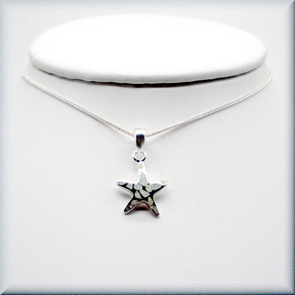 White Opal Starfish Necklace - Beach Jewelry - Bonny Jewelry