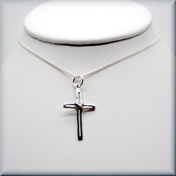 Wrapped Silver Cross Necklace - Religious Jewelry - Bonny Jewelry