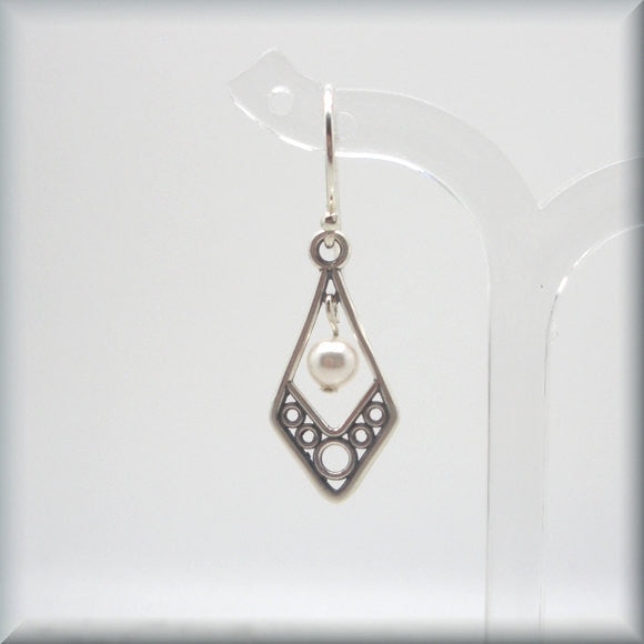 Filigree White Pearl Earrings - June Birthstone - Bonny Jewelry