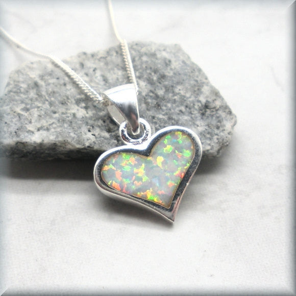 White Opal Heart Necklace - October Birthstone Jewelry (SN972) - Bonny Jewelry