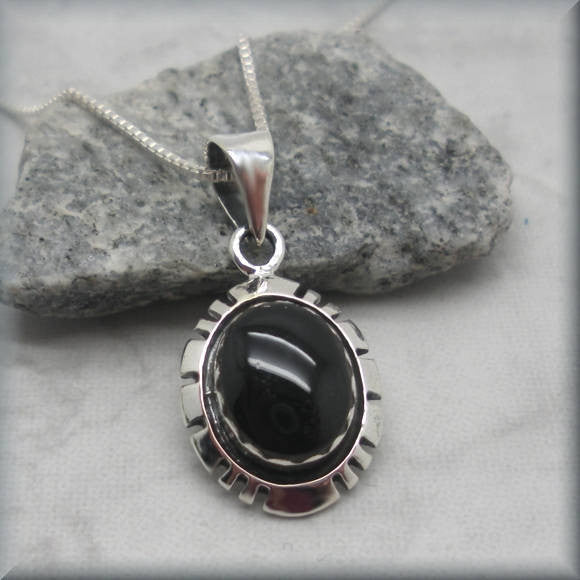 Southwestern Black Onyx Necklace - Western Pendant - Gemstone Jewelry
