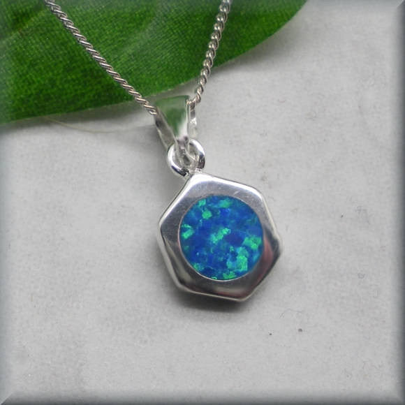 Blue Opal Hexagon Necklace - October Birthstone - Bonny Jewelry