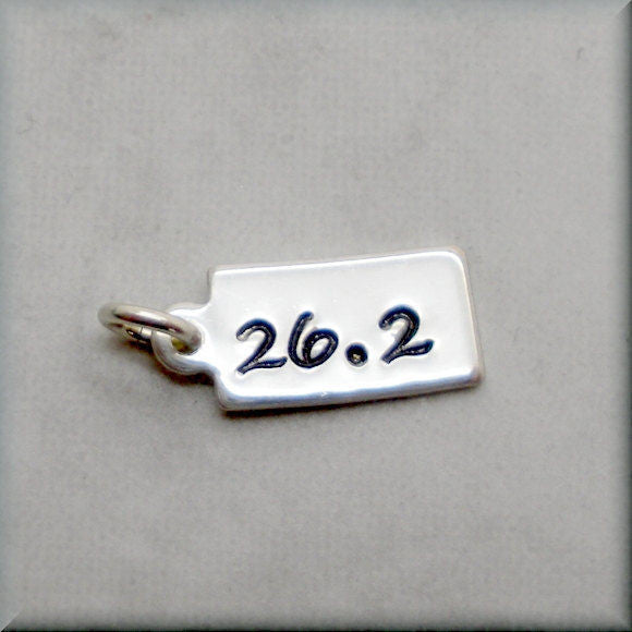 Tiny 26.2 Charm - Distance Running Charm - Handstamped