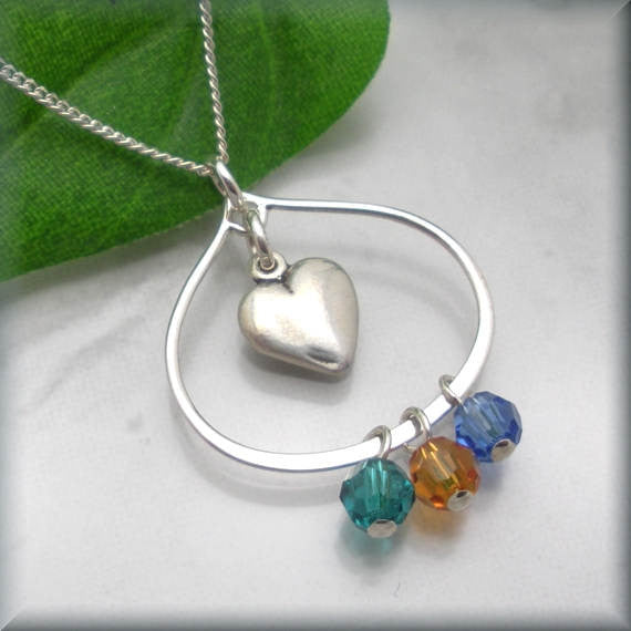 Mothers Heart Birthstone Necklace - Family Jewelry - Bonny Jewelry