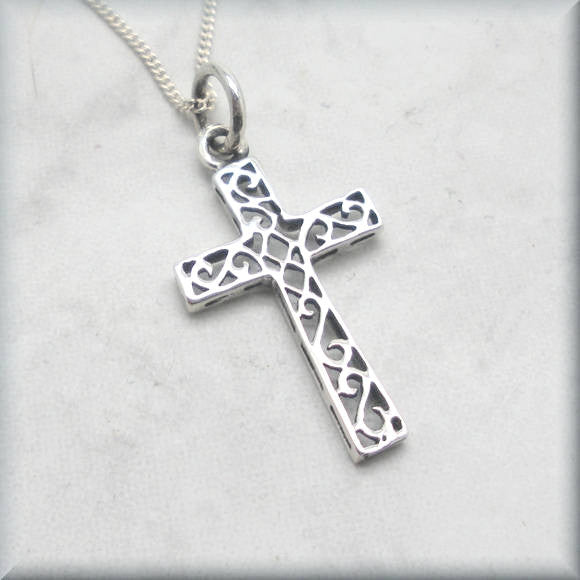 Scrollwork Cross - Religious Jewelry - Bonny Jewelry