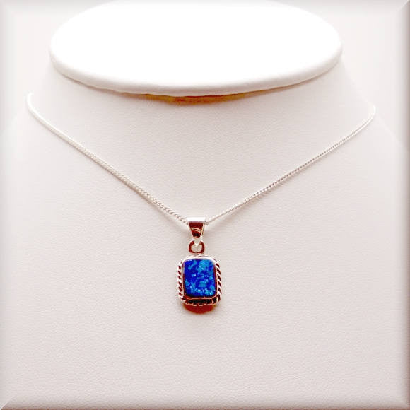 Blue Opal Rope Necklace - October Birthstone Jewelry - Bonny Jewelry