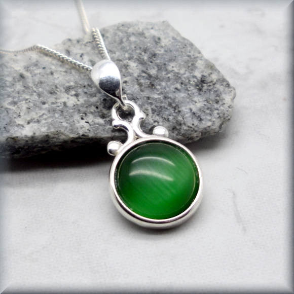 Emerald Green Cats Eye Necklace - Summer Jewelry - Bonny Jewelry