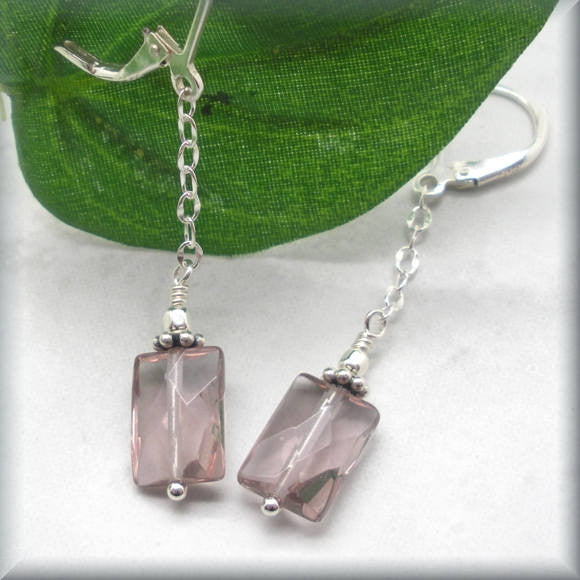 Light Amethyst Quartz Leverback Earrings - June Birthstone