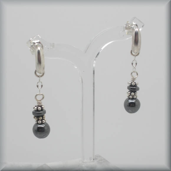 gemstone hematite sterling silver earrings by Bonny Jewelry