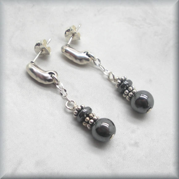 hematite and sterling silver post earrings by Bonny Jewelry
