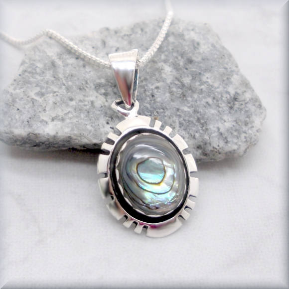 Southwestern Abalone Necklace - Sterling Silver Paua Shell Pendant