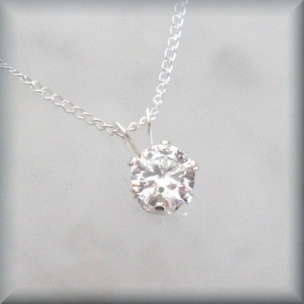 Diamond Cubic Zirconia Necklace - April Birthstone Bonny Jewelry