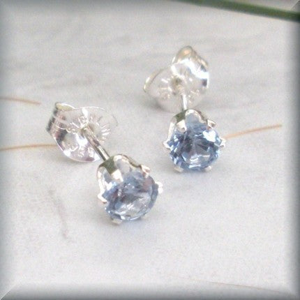 Small Aquamarine Post Earrings - March Birthstone - Sterling Silver