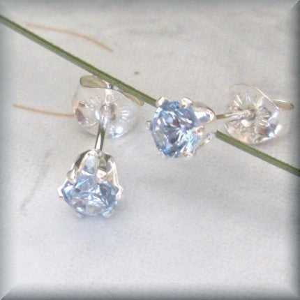 Aquamarine Post Earrings - March Birthstone - Sterling Silver - Bonny Jewelry