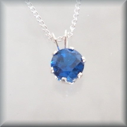 September Birthstone Necklace - Blue Sapphire Pendant - September Birthday