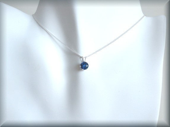 September Birthstone Necklace - Blue Sapphire Pendant - September Birthday - Bonny Jewelry