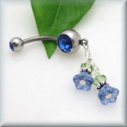 Blue Flower and Crystal Belly Ring - Bonny Jewelry