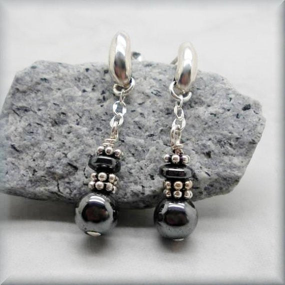 hematite and sterling silver earrings by Bonny Jewelry