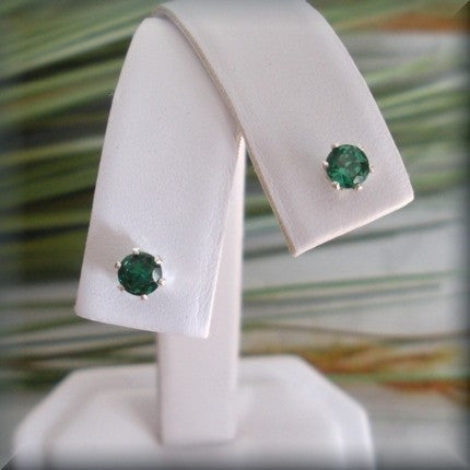 Emerald Stud Earrings - May Birthstone - Bonny Jewelry