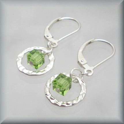 Peridot Swarovski Crystal Cube Earrings - August Birthstone - Bonny Jewelry