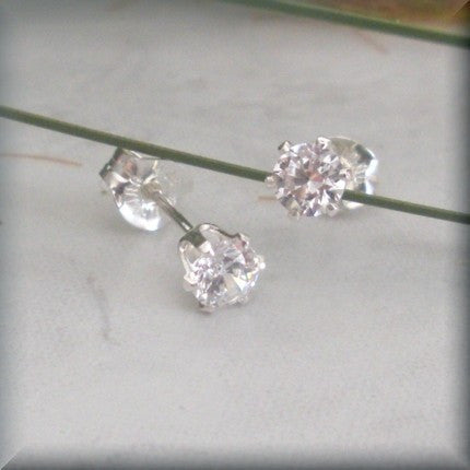 Diamond Cubic Zirconia Post Earrings - April Birthstone - Bonny Jewelry