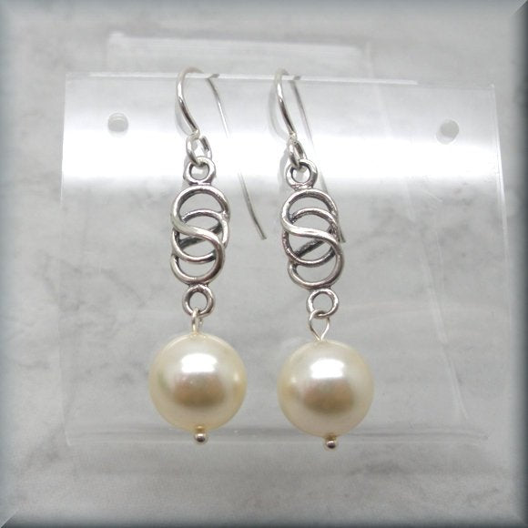 Sterling silver Celtic knot earrings with pearl dangle by Bonny Jewelry