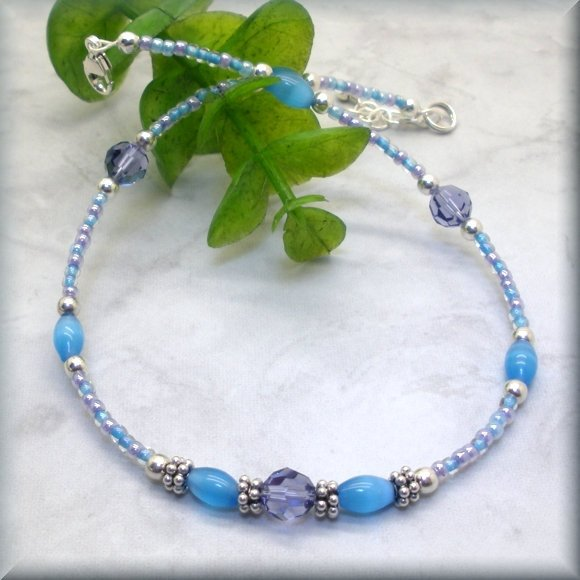 Tanzanite Swarovski Crystal and Turquoise Cats Eye Anklet - Fits 9.5