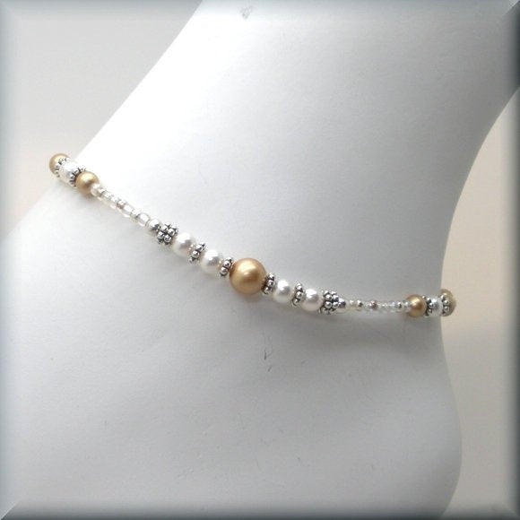 "Gold and White Pearl Adjustable Anklet - Fits 10"" - 11"""