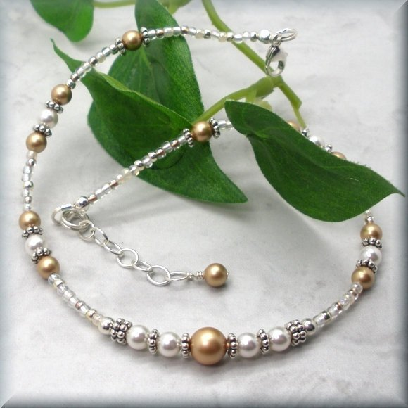 Gold and White Pearl Adjustable Anklet - Fits 10