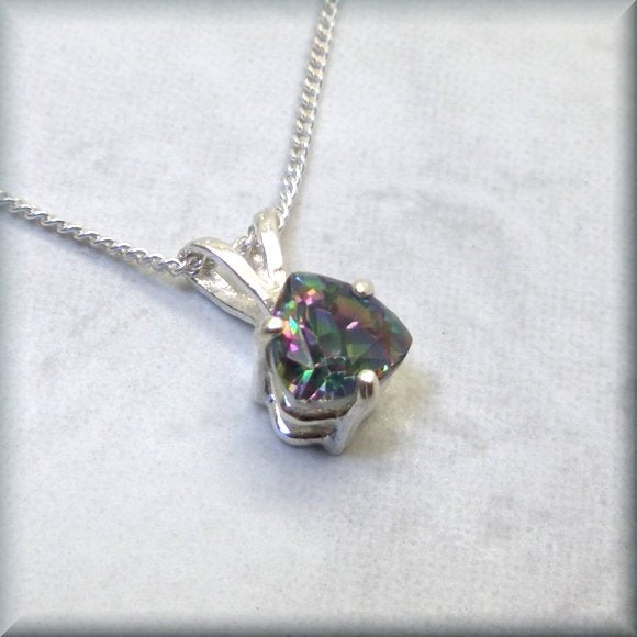 triangle mystic rainbow sterling silver necklace by Bonny Jewelry