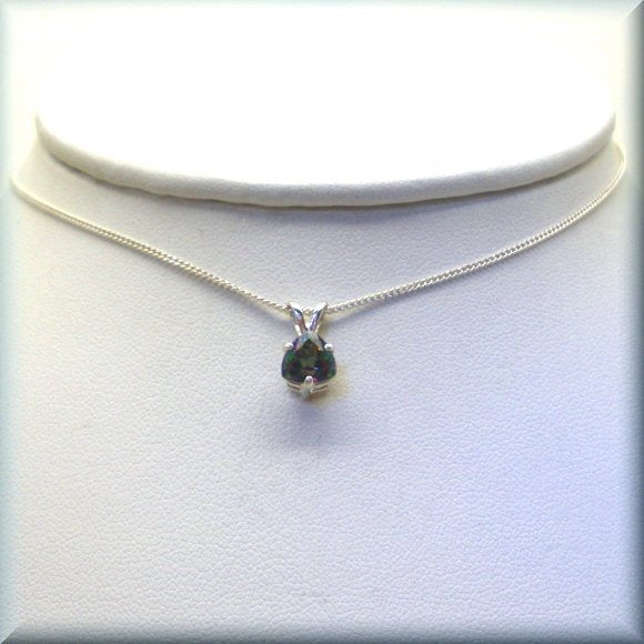 sterling silver trillion rainbow topaz necklace by Bonny Jewelry