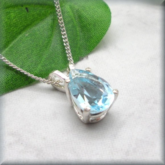 pear cut sky blue topaz necklace by Bonny Jewelry