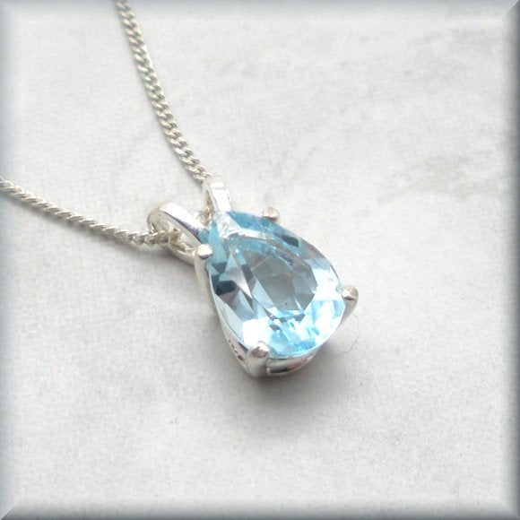 faceted pear cut sky blue topaz necklace by Bonny Jewelry
