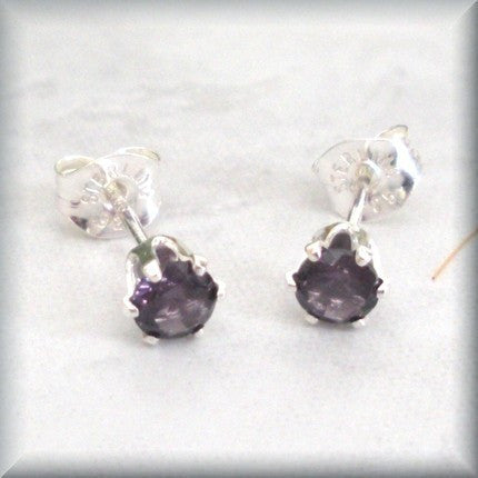 Amethyst Post Earrings - February Birthstone - Sterling Silver - Bonny Jewelry