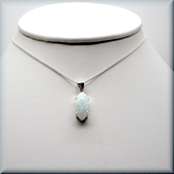 Simulated white opal necklace in sterling silver by Bonny Jewelry