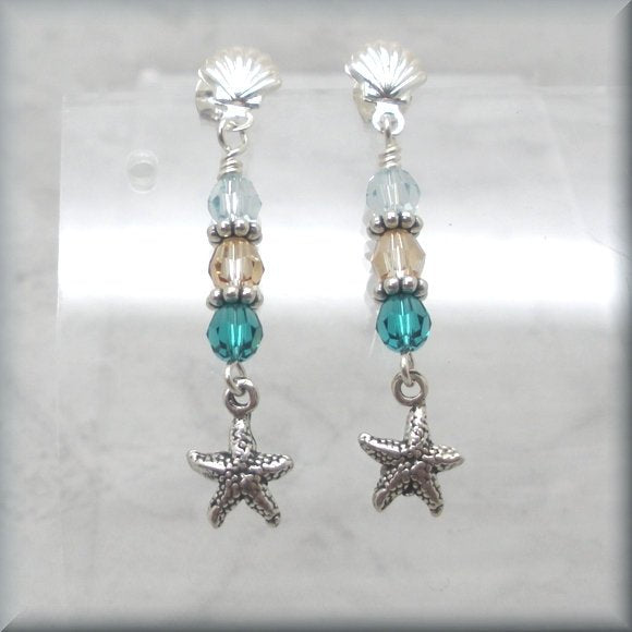 Crystal earrings with sterling silver seashell posts by Bonny Jewelry