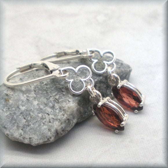 red garnet leverback earrings by Bonny Jewelry