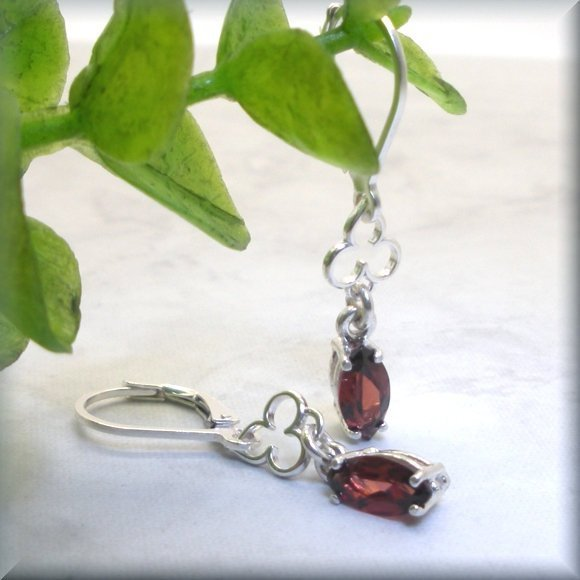 marquise garnet earrings in sterling silver by Bonny Jewelry