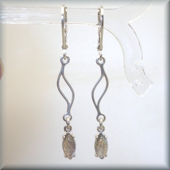 sterling silver labradorite earrings in marquise shape by Bonny Jewelry