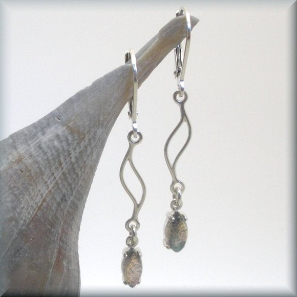 sterling silver wave earrings with labradorite dangle by Bonny Jewelry
