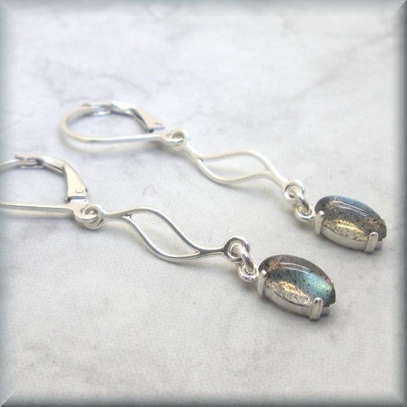 Tiny Labradorite Wave Dangle Earrings - Sterling Silver Leverbacks